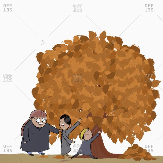 Kashmiri family playing under autumn tree, Booni, Jammu and Kashmir