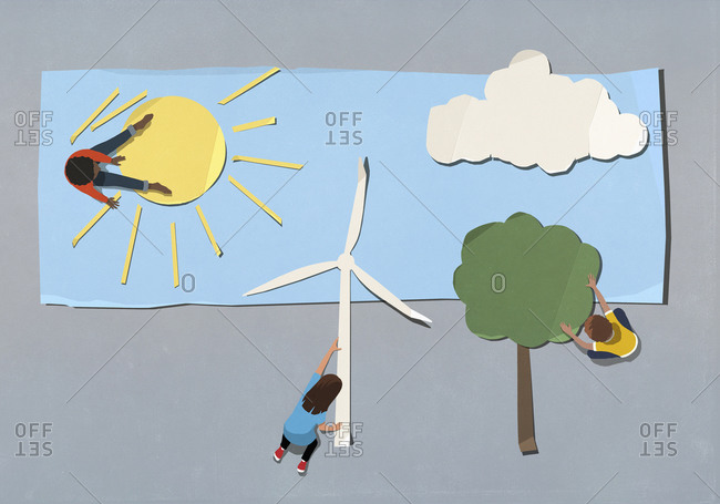 Kids arranging environment and wind turbine symbols
