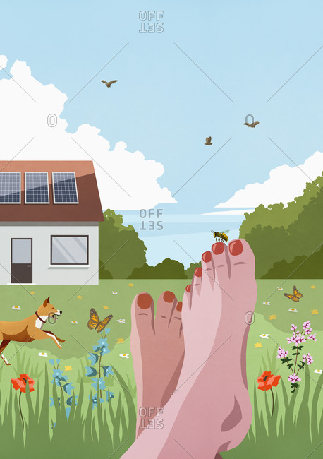 POV Carefree barefoot woman relaxing in idyllic sunny spring garden