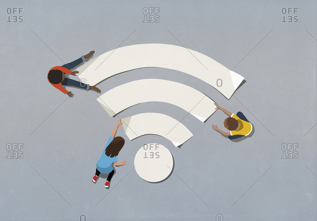 People assembling wifi symbol together