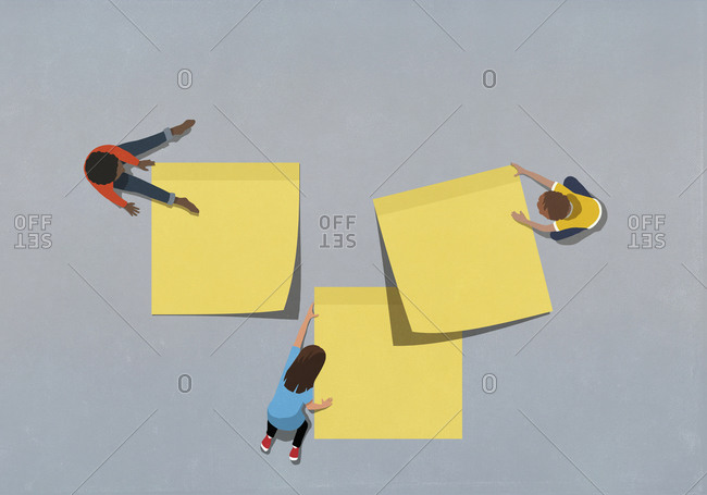 Children with large yellow adhesive notes