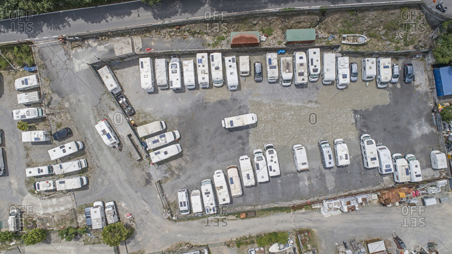 October 22, 2020: Top down view caravans parked in caravan park, Genoa, Liguria, Italy