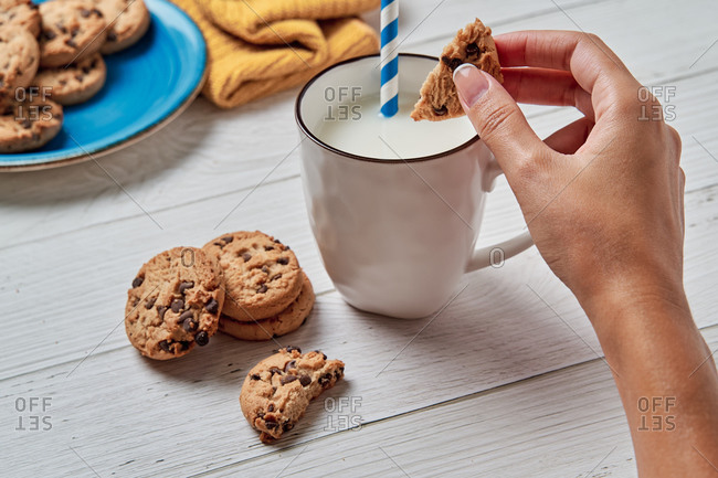 Crop hand of unrecognizable female eating yummy sweet chocolate cookies with cup of milk during breakfast