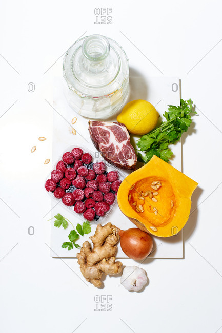 Flat lay with various ingredients for cooking a healthy meal