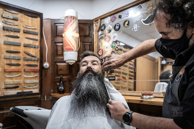 Professional tattooed barber in protective mask with comb and scissors cutting long beard of middle aged gray haired male
