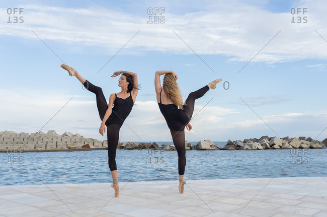 Full body of talented slim female dancers in similar black leotards standing on tiptoe and stretching legs