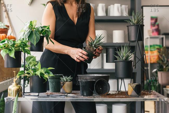 Florist holding workshop demonstration on how to correctly pot plants