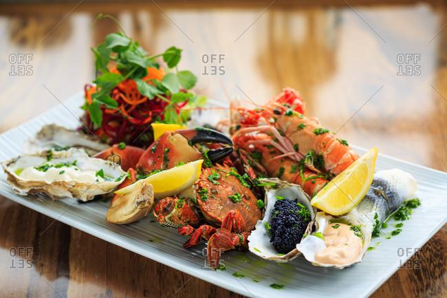 A colorful Scottish shellfish platter