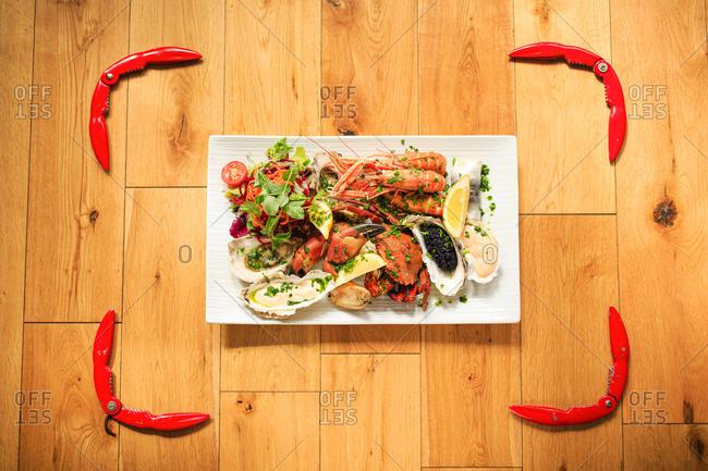 Framed shellfish platter. tobermory, isle of mull