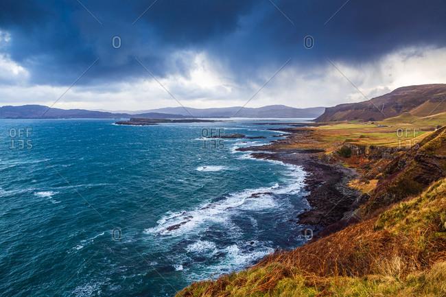 Stormy coastal island winter seascape