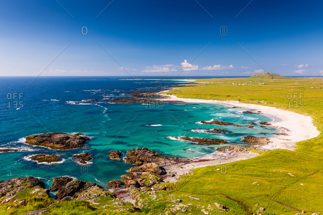 Tiree beach view with turquoise sea and white sand