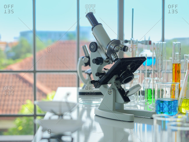 Many types of laboratory equipment on the table