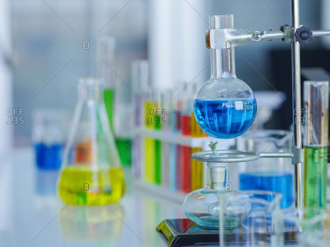 A variety of laboratory equipment glassware.