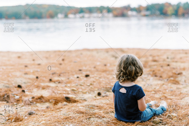 Little toddler girl with curly hair sitting by a lake with pine needle