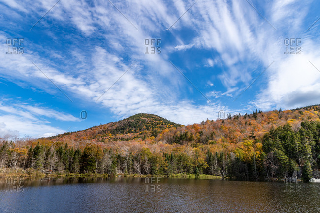 Gorgeous blue sky day during fall foliage in the nh white mountains.
