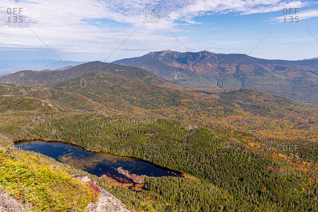 Colors changing in the nh white mountains during fall.