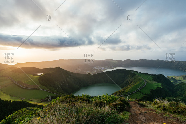 Azores islands lake and mountain landscape
