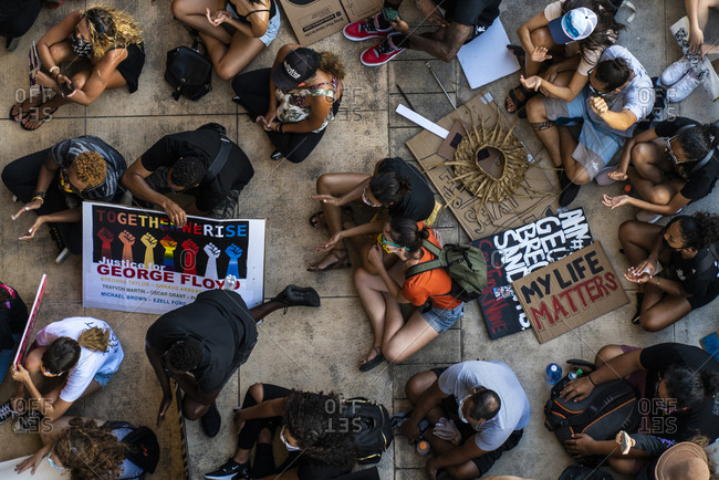 Honolulu, HI, United States - July 1, 2019: Aerial view of protestors at Black Lives Matter March in Honolulu
