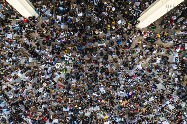 Honolulu, HI, United States - July 1, 2019: Aerial view of Black Lives Matter Protestors at Hawaii State Capitol