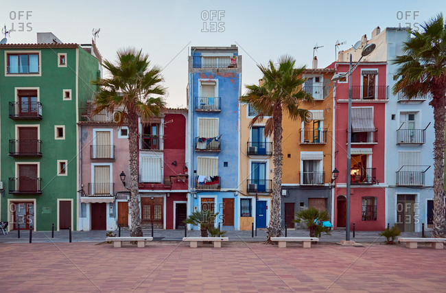 Villajoyosa's colorful houses from Alicante, Spain