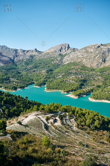 Vertical image of the reservoir of Guadalest, Spain