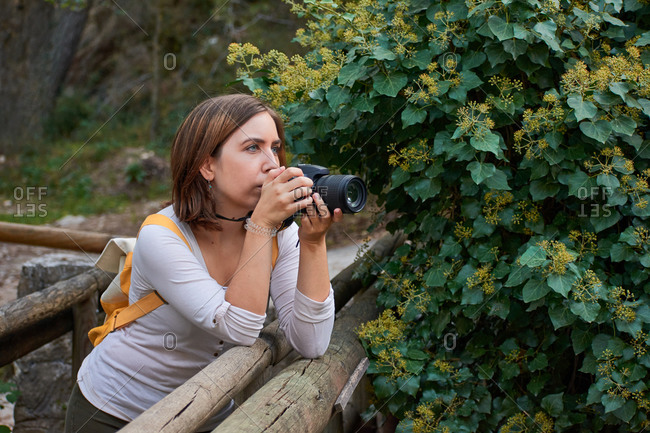 Woman takes pictures with her camera supported by a wooden bridge