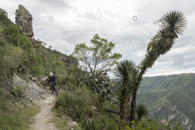 Mexico, Hidalgo, Huasca de Ocampo - September 29, 2018: One person riding a mtb bike on a trail at a canyon in Pena del Aire