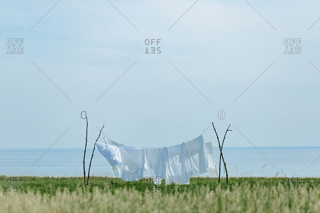 Drying clothes in the village