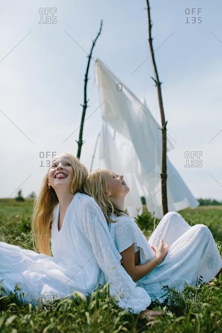 Little girls enjoy summer carefree
