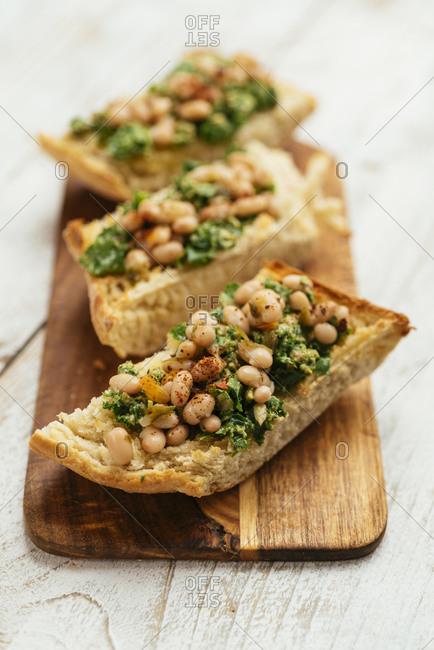 Home Made Vegan Kale Pesto with White Beans Bruschetta