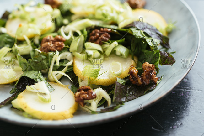 Mustard Greens with Marinated Fennel and Pears