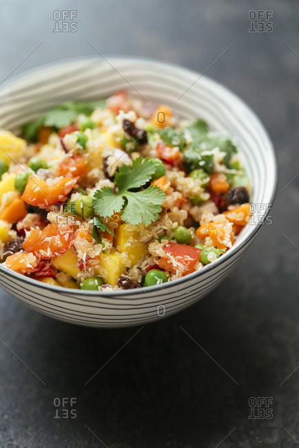 Tropical Quinoa Salad with vegetables, mango and coconut