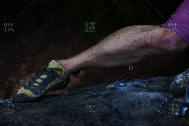 A climber's leg in action.