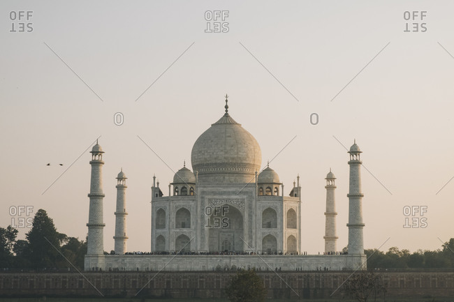 Taj Mahal at sunset as seen from Mehtab Bagh viewpoint, Agra