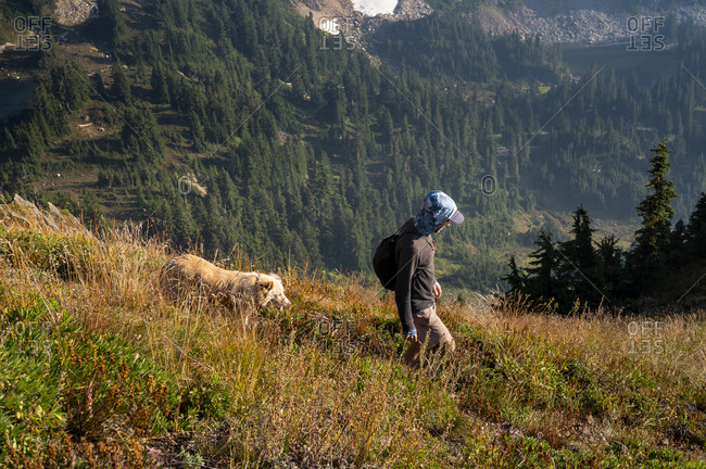 Male Hiker With Dog From Above