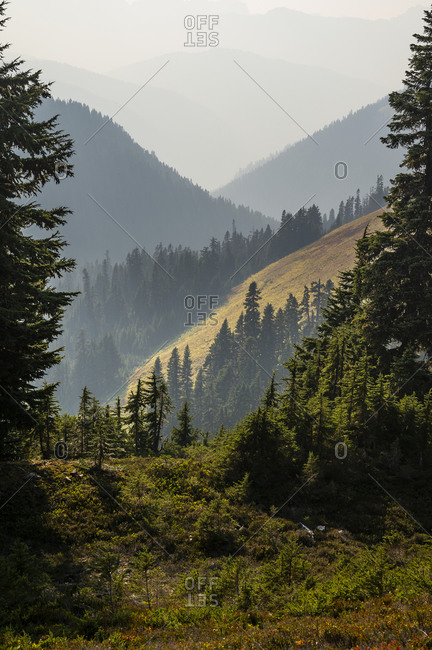 Hazy layers of smoke obscure the cascade mountains