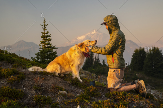 Dog getting pets and scratches as the sun sets in the alpine
