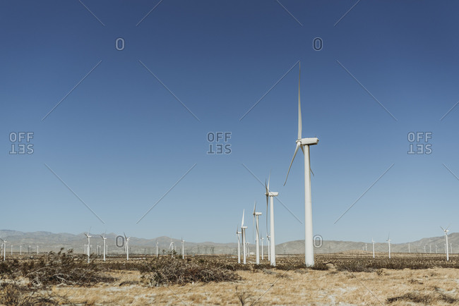 Landscape image of Palm Springs windmills landmark against blue skies