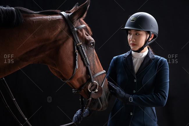 Professional racing jockey and horses