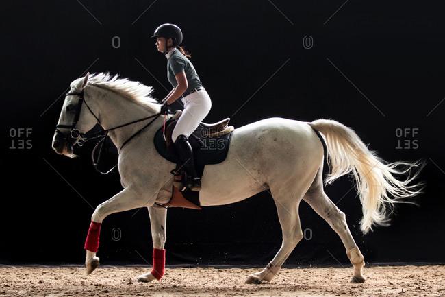 Handsome girl riding a horse