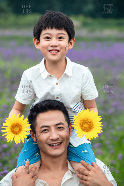 Happy father and son in the outing