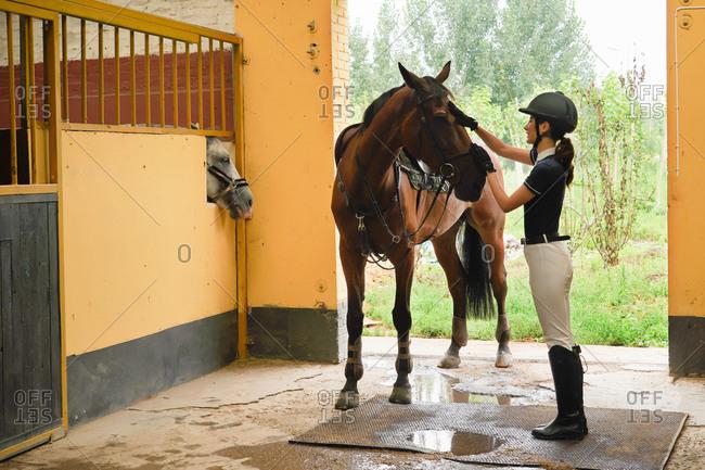 Young women stroked the horse stables door