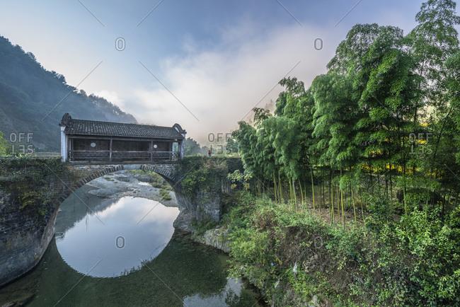 Anhui huangshan city hugh zhengning ancient lounge bridges