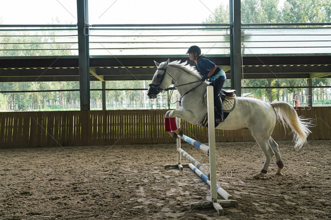 Riding a horse jump barrier bar handsome young girl