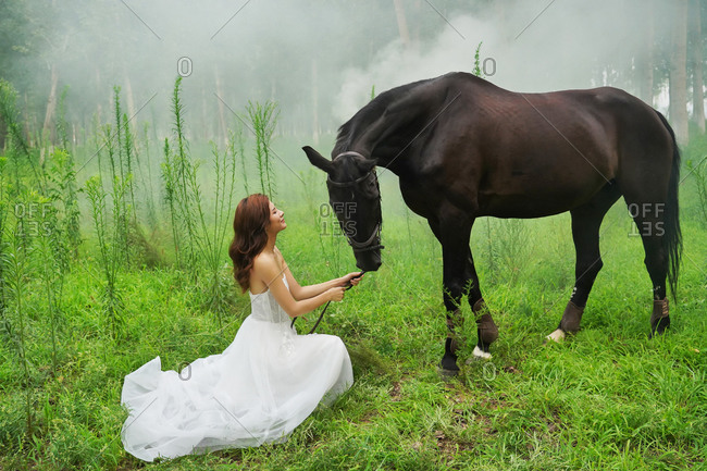 The dress young woman the horse on the grass