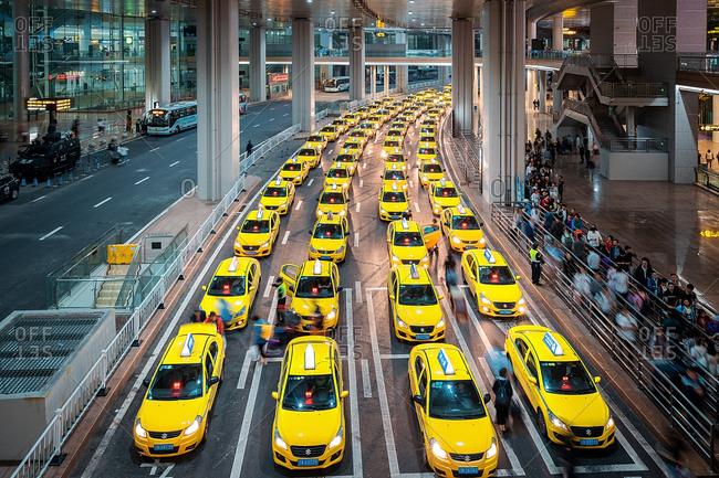 November 6, 2020: chongqing urban architecturea taxi at the airport