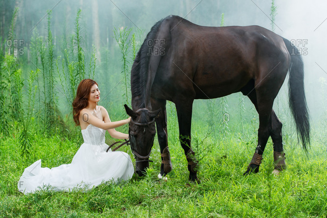 The wedding dress young woman and a horse on the grass