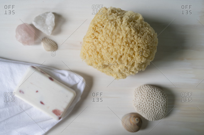 Sponge and soap for bath