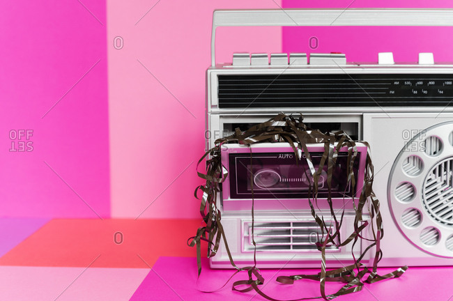 Damaged audio tape in tape player
