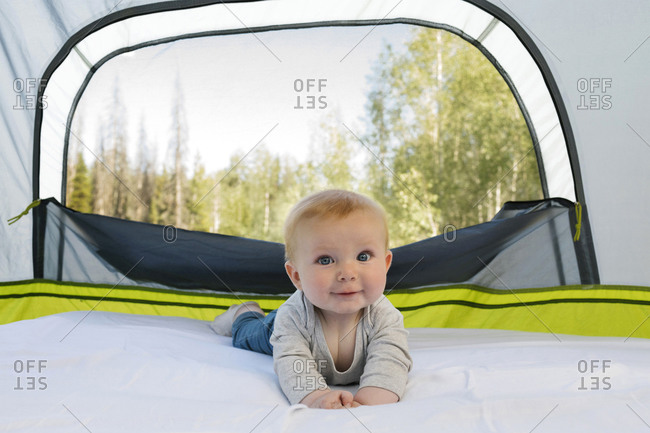 USA, Utah, Uinta National Park, Portrait of baby boy (6-11 months ) in tent